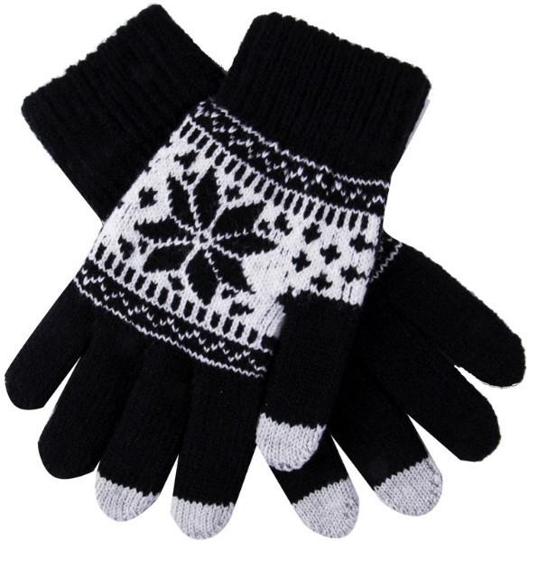 Перчатки для телефона Touch Gloves with ornament black / white size S