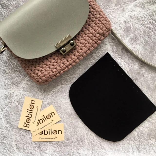 Набір фурнітури для сумки: кришка з еко шкіри, ручка з карабінами довга. Колір Чорний