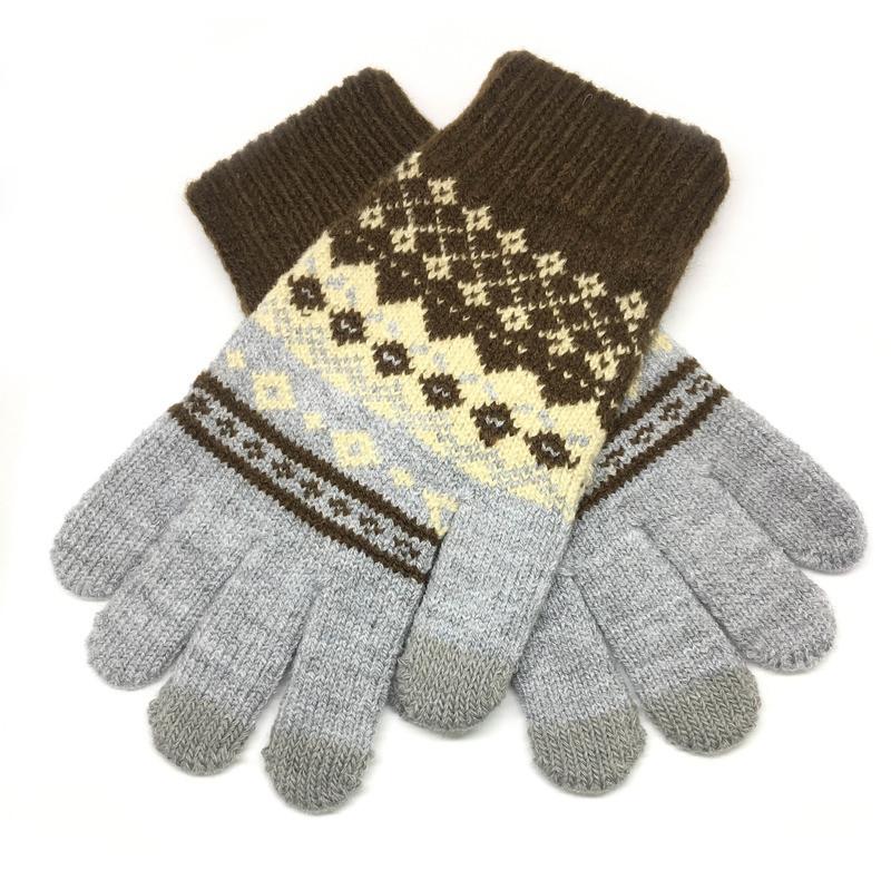 Рукавички для телефону Touch Gloves ornament grey / brown size M
