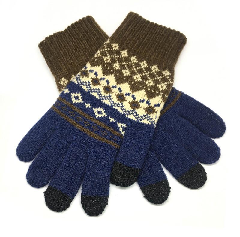Перчатки для телефона Touch Gloves ornament blue / brown size M