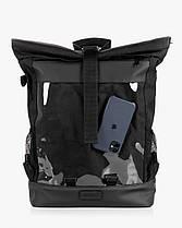 """Стильный мужской рюкзак """"MESH 2"""", городской роллтоп для ноутбука на 29л, Черный (со съёмной сеткой), фото 2"""