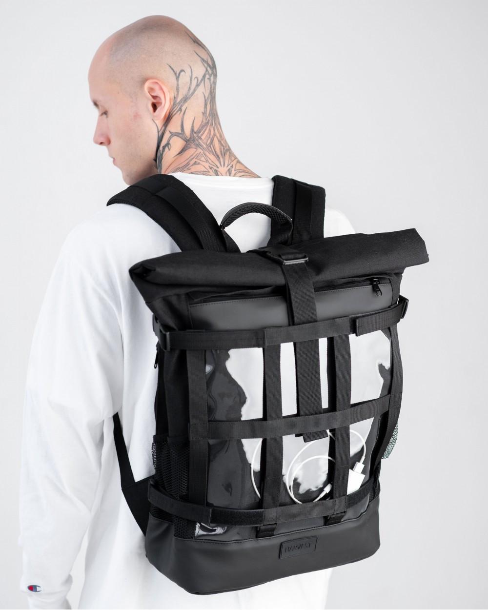 """Стильный мужской рюкзак """"MESH 2"""", городской роллтоп для ноутбука на 29л, Черный (со съёмной сеткой)"""