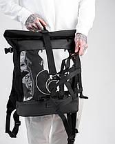 """Стильный мужской рюкзак """"MESH 2"""", городской роллтоп для ноутбука на 29л, Черный (со съёмной сеткой), фото 3"""