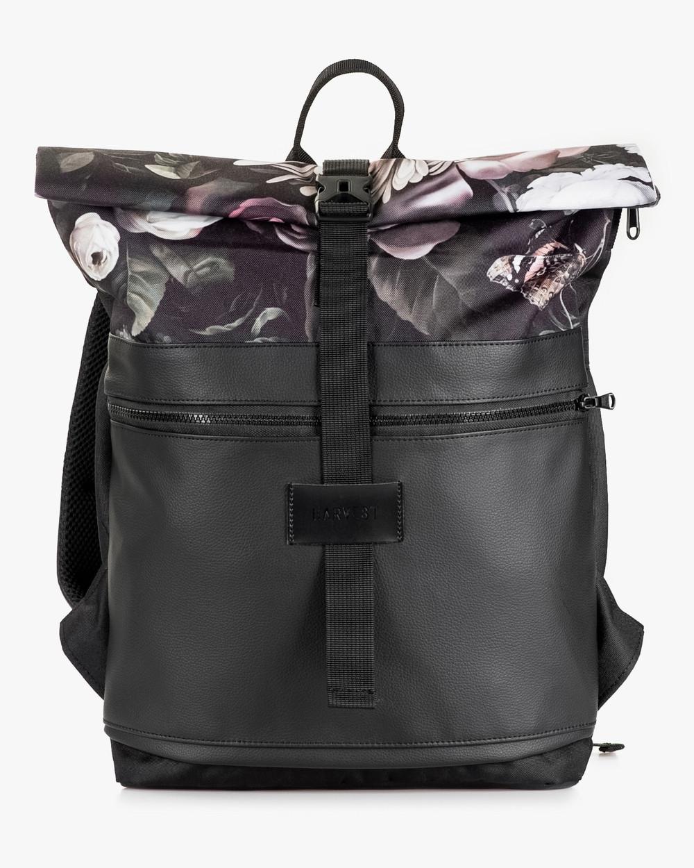 """Женский рюкзак """"ROLLTOP"""" на 21л, сумка для ноутбука, черный, ПРИНТ, ФЛОРАЛ, повседневный, спортивный"""