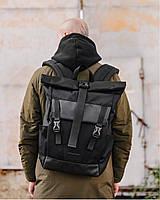 """Прочный мужской рюкзак """"WIDE 1"""" на 29л, спортивний городской rolltop для путешетвий, сумка для ноутбука,Черный"""