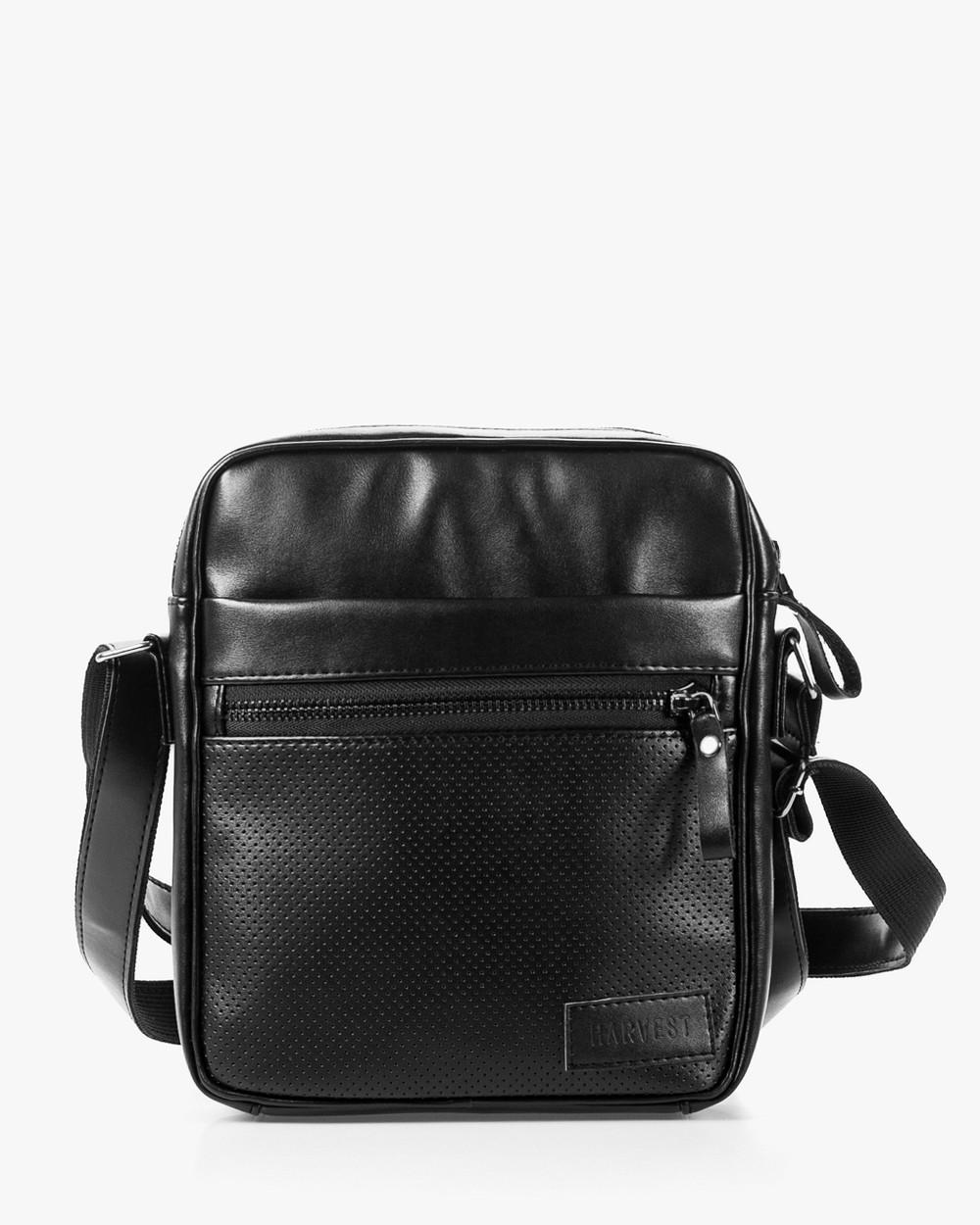 """Мужская сумка мессенджер """"LARGE"""" перфорация, черная,на 4л,сумка для планшета,повседневная, спортивная, экокожа"""