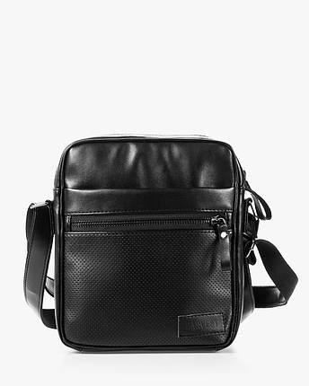 """Мужская сумка мессенджер """"LARGE"""" перфорация, черная,на 4л,сумка для планшета,повседневная, спортивная, экокожа, фото 2"""