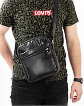 """Мужская сумка мессенджер """"LARGE"""" перфорация, черная,на 4л,сумка для планшета,повседневная, спортивная, экокожа, фото 3"""