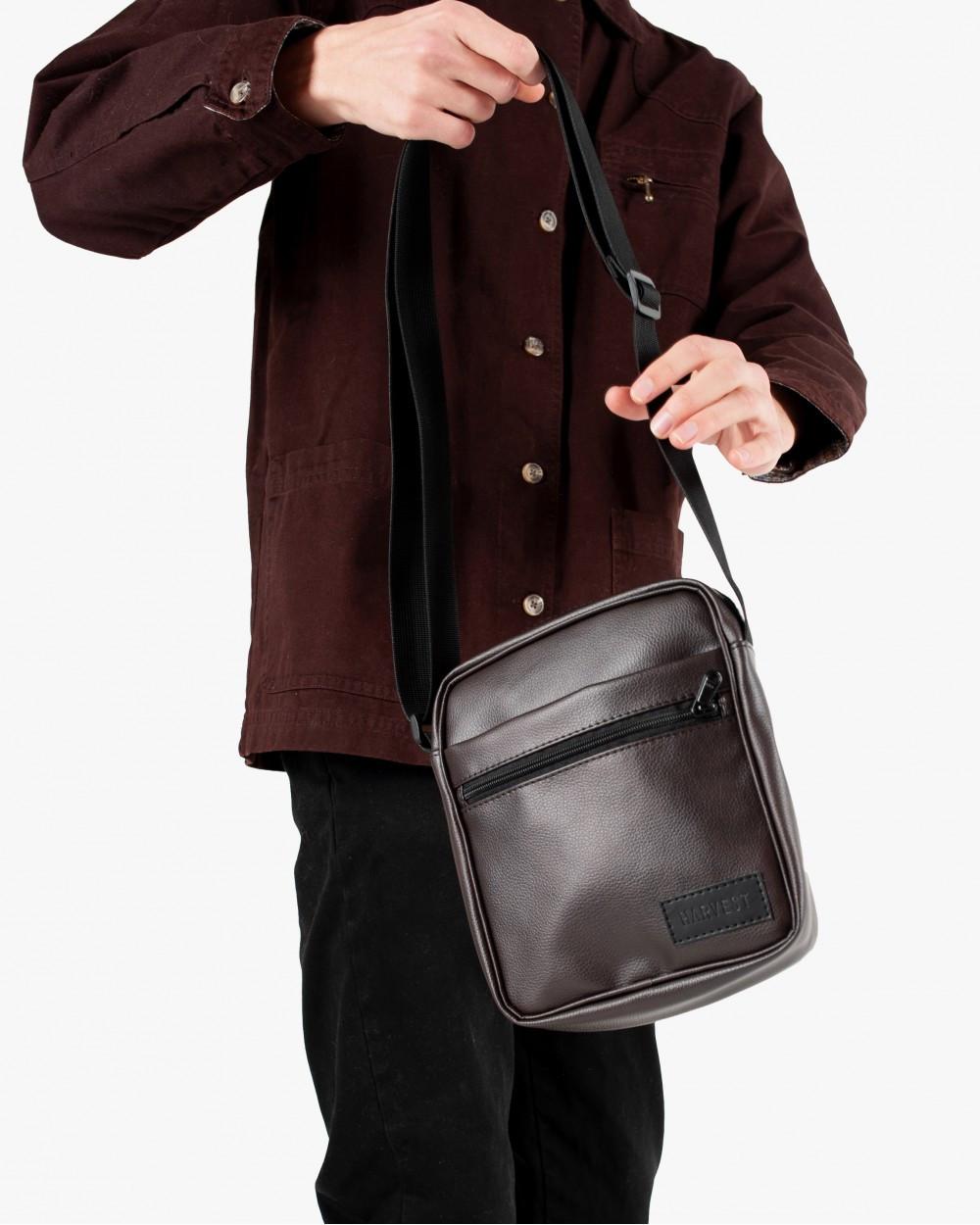 """Мужская сумка мессенджер """"MINI"""" коричневый, на 2л, повседневный, спортивный, экокожа, Harvest"""