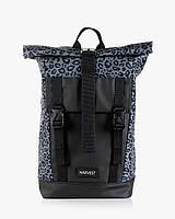 """Женский городской рюкзак """"AVIAROLLTOP"""" на 17л,  принт леопард, серый, сумка для ноутбука, повседневный"""