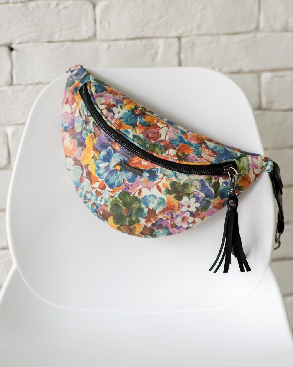 "Женская поясная сумка ""MOLLY"" принт цветы, на 2л, бананка, повседневная, спортивная, натуральная кожа, Harvest"