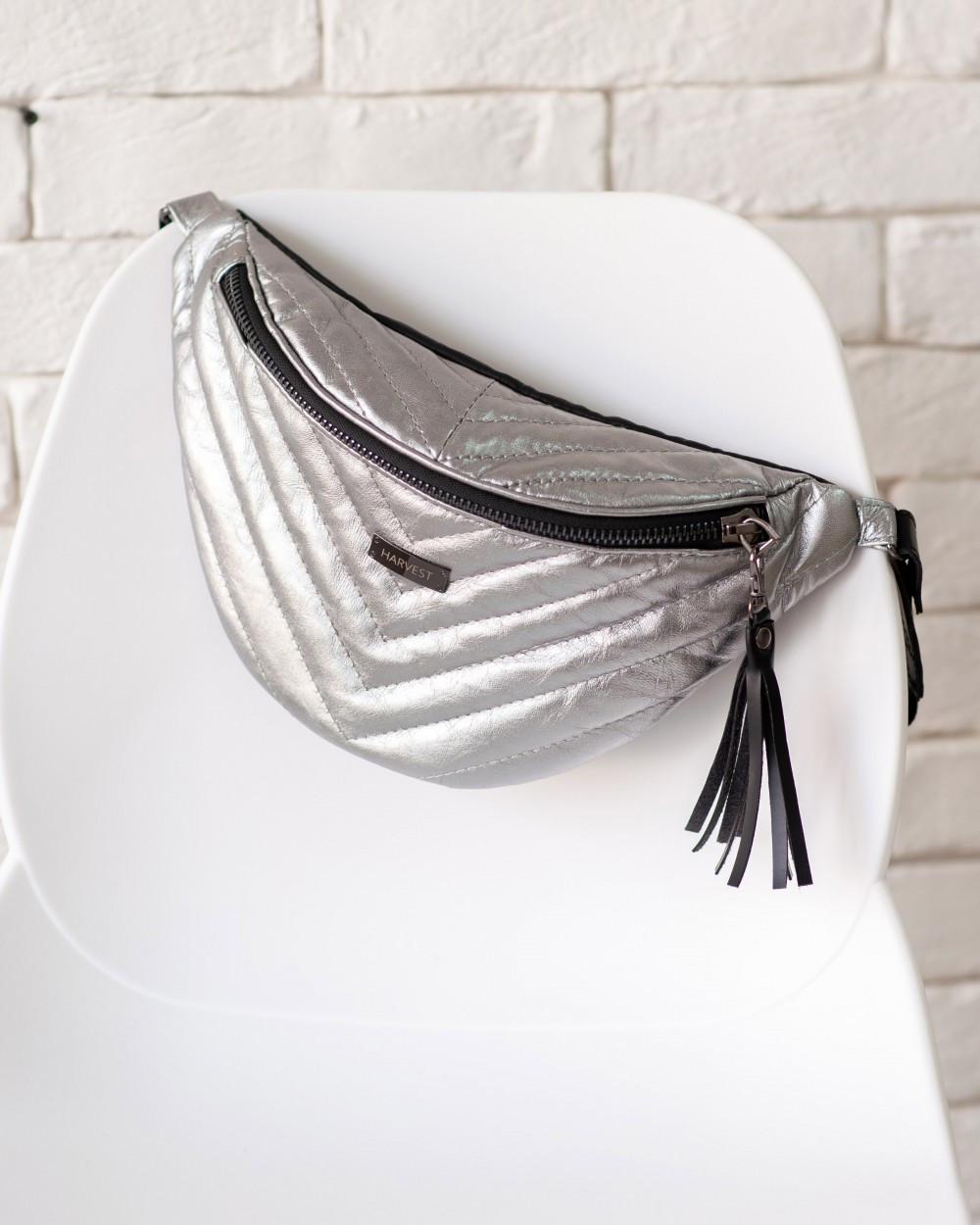"Женская поясная сумка ""MOLLY"" серебро, на 2л, бананка, повседневная, спортивная, натуральная кожа, Harvest"