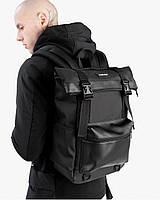 """Прочный мужской рюкзак """"ROLL 3"""" на 26л, спортивний городской роллтоп для путешествий,сумка для ноутбука,Черный"""