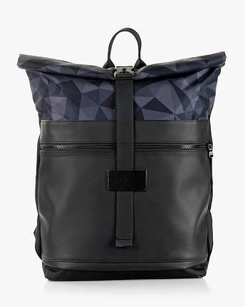 """Мужской рюкзак """"ROLLTOP"""" принт, черный, на 21л,сумка для ноутбука, повседневный, спортивный, для путешествия, фото 2"""