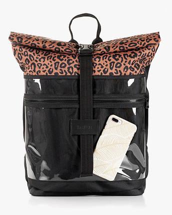 """Женский рюкзак """"ROLLTOP"""" принт, леопард, коричневый, на 21л,сумка для ноутбука, водоотталкивающий,повседневный, фото 2"""