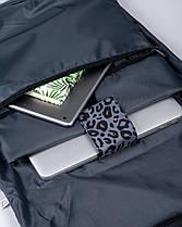 """Женский городской рюкзак """"ROLLTOP"""" на 21л,ПРИНТ,ЛЕОПАРД,СЕРЫЙ, черная экокожа,сумка для ноутбука, повседневный, фото 3"""