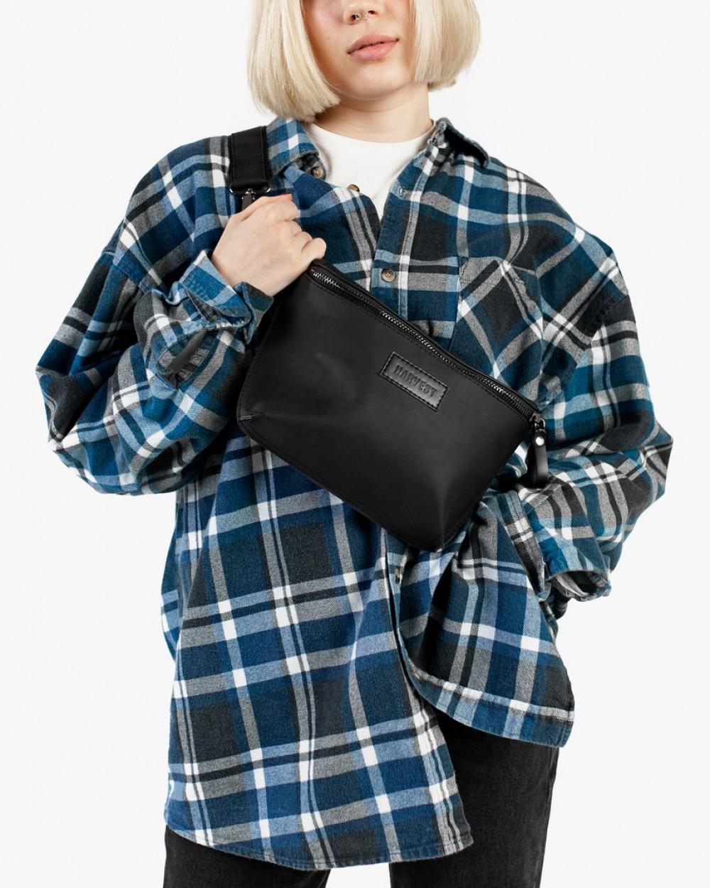 """Поясная сумка """"STONE"""" нубук, черная, на 3л, унисекс, повседневный, спортивный, экокожа, Harvest"""