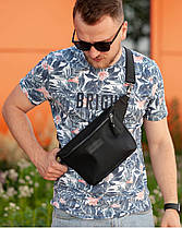 """Поясная сумка """"STONE"""" нубук, черная, на 3л, унисекс, повседневный, спортивный, экокожа, Harvest, фото 2"""