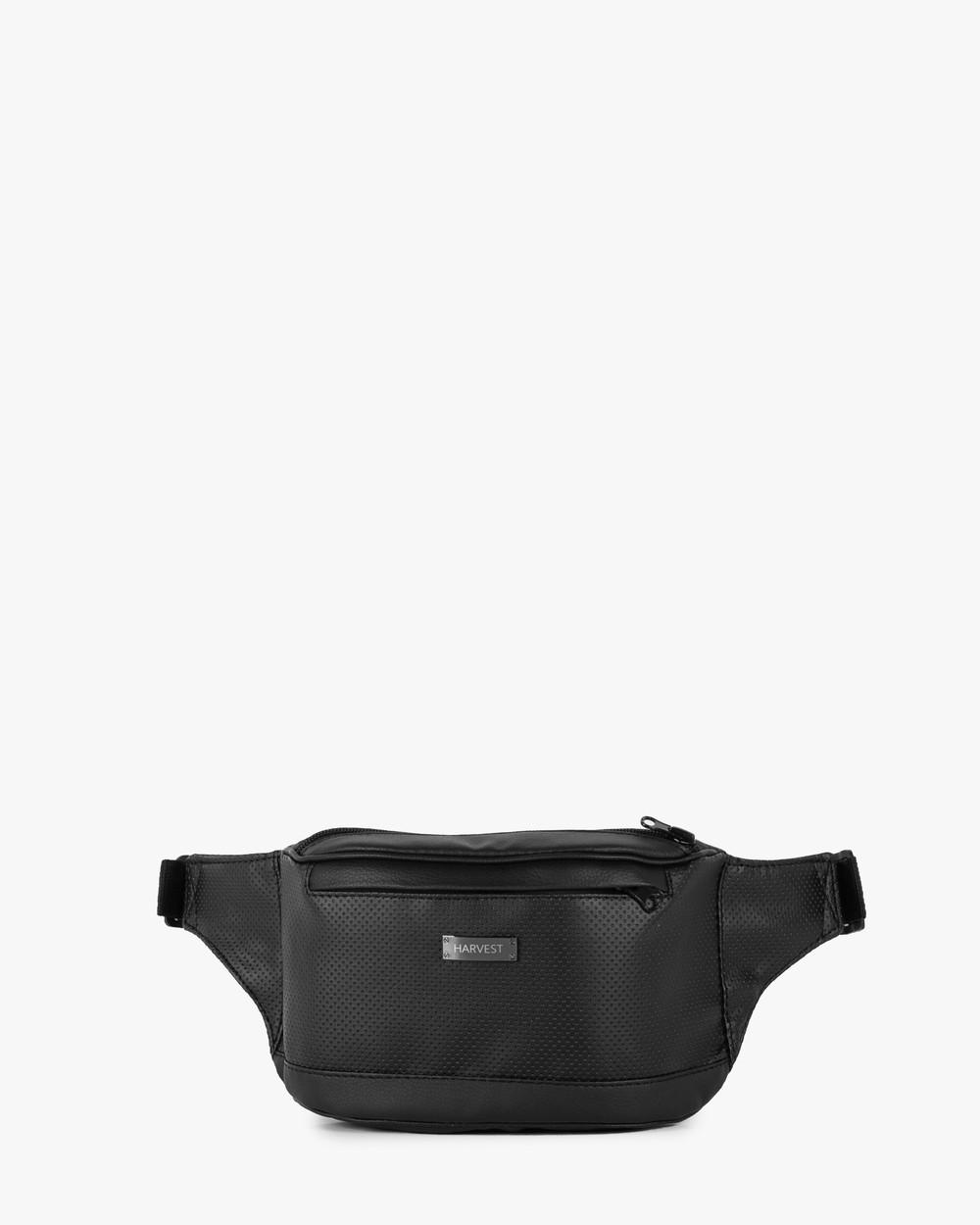 """Поясная сумка """"LARGE"""" перфорация, чёрная, на 2л, бананка, унисекс, повседневная, спортивная, экокожа, Harvest"""