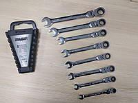 Набор рожково-накидных ключей с трещеткой на кардане 8 шт Euro craft :  в размерах 8, 10, 12, 13, 14, 17, 19