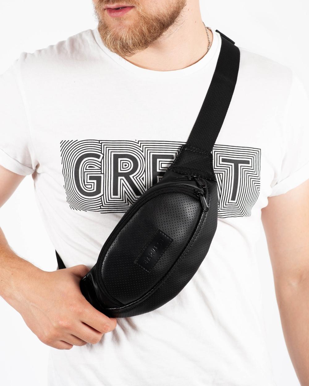 """Поясная сумка """"PERF MINI"""" чёрная, на 1л, бананка, унисекс, повседневная, спортивная, водоотталкивающая,экокожа"""