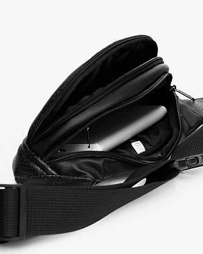 "Поясная сумка ""PERF MINI"" чёрная, на 1л, бананка, унисекс, повседневная, спортивная, водоотталкивающая,экокожа, фото 2"