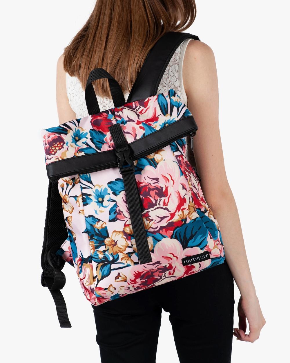 """Женский рюкзак """"ROLL MINI"""" на 18л, принт пинк флорал, полиэстер, сумка для нетбука или планшета, повседневный"""