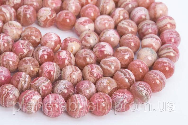 10 мм Родохрозит , Натуральный камень, Форма: Шар, Отверстие: 1-1.5 мм, кол-во: 38-40 шт/нить