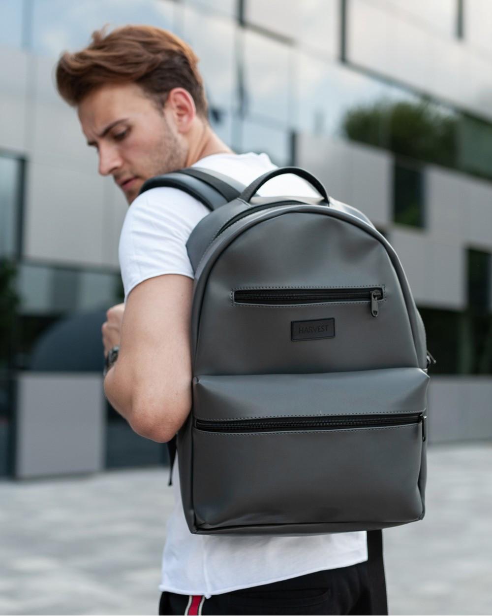 """Прочный мужской рюкзак """"TIPOLEATHER"""" на 17л, спортивний городской для путешествий, сумка для ноутбука, Серый"""