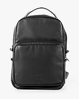 """Прочный мужской рюкзак """"MONO mini"""" чёрный, на 8л, повседневный, спортивный, экокожа"""