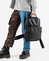 """Прочный мужской рюкзак """"MONO mini"""" чёрный, на 8л, повседневный, спортивный, экокожа, фото 3"""