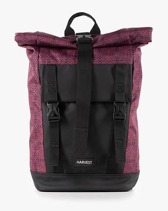 """Рюкзак """"AVIAROLLTOP"""" принт орнамент, бордо, на 17л, сумка для ноутбука, унисекс, повседневный, спортивный, фото 2"""