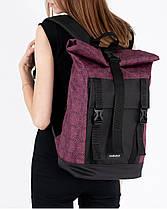 """Рюкзак """"AVIAROLLTOP"""" принт орнамент, бордо, на 17л, сумка для ноутбука, унисекс, повседневный, спортивный, фото 3"""