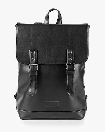 """Прочный мужской рюкзак """"Edgy"""" черный, на 20л, сумка для ноутбука, повседневный, спортивный, экокожа, фото 2"""