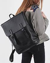 """Прочный мужской рюкзак """"Edgy"""" черный, на 20л, сумка для ноутбука, повседневный, спортивный, экокожа, фото 3"""
