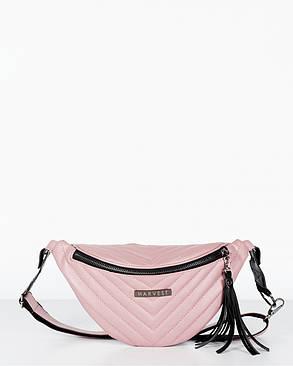 "Женская поясная сумка ""MOLLY"" стёганная пудра, на 2л, бананка, повседневная, спортивная, экокожа, Harvest, фото 2"