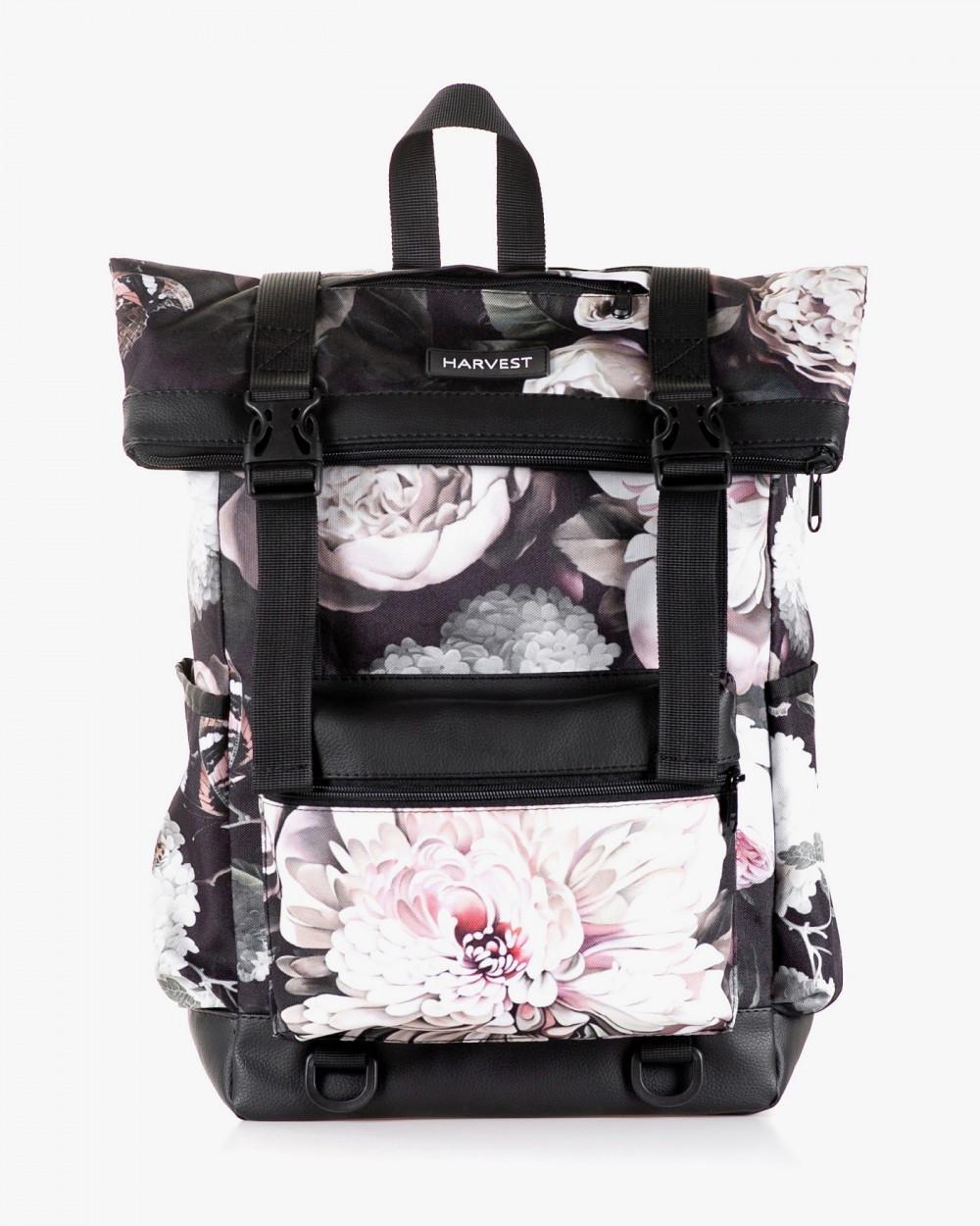 """Женский городской рюкзак """"ROLL 3"""" принт, флорал,черный, на 25л, сумка для ноутбука, повседневный, спортивный"""