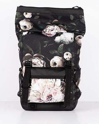 """Женский городской рюкзак """"ROLL 3"""" принт, флорал,черный, на 25л, сумка для ноутбука, повседневный, спортивный, фото 2"""