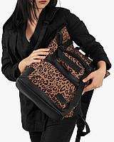 """Женский городской рюкзак """"ROLL"""" на 19л,принт леопард, коричневый, сумка для ноутбука или планшета,повседневный"""
