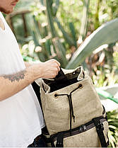 """Рюкзак """"UNIVERSAL"""" лён, коричневый, на 22л, сумка для ноутбука, водостойкий, унисекс, повседневный, спортивный, фото 2"""