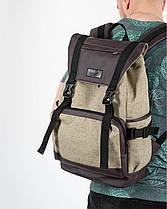 """Рюкзак """"UNIVERSAL"""" лён, коричневый, на 22л, сумка для ноутбука, водостойкий, унисекс, повседневный, спортивный, фото 3"""