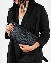 """Женская поясная сумка """"BG""""  принт леопард, серый, на 2л, бананка, повседневная, спортивная, экокожа, Harvest, фото 3"""