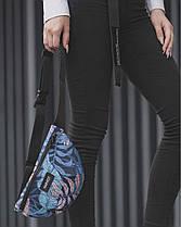 """Женская поясная сумка """"BG"""" принт тропик, синяя, на 2л, бананка, повседневная, спортивная, экокожа, Harvest, фото 3"""