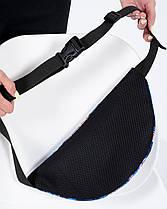"""Женская поясная сумка """"BG"""" принт тропик, синяя, на 2л, бананка, повседневная, спортивная, экокожа, Harvest, фото 2"""