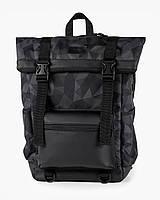 """Прочный мужской рюкзак """"ROLL 3"""" на 25л, спортивний городской роллтоп для путешествий,сумка для ноутбука,Чёрный"""
