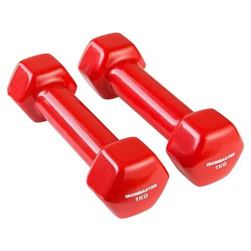 Гантели виниловые IronMaster 1 кг 2 шт красные IR92005-21