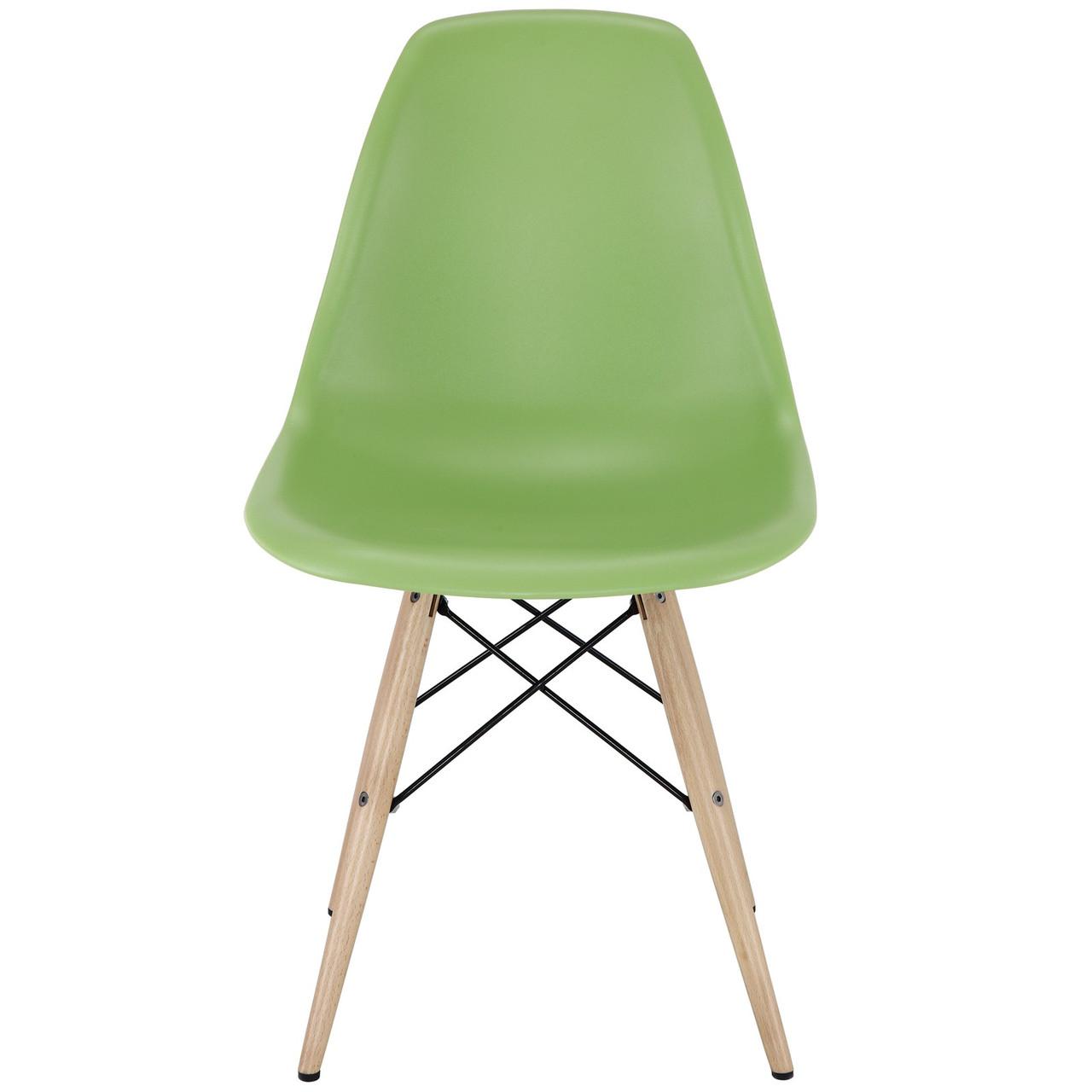 Стілець Тауер Вуд, пластиковий, ніжки дерево бук, колір зелений