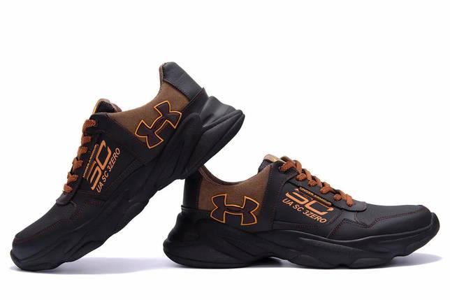 Мужские кожаные кеды в стиле Under Armour UA SC 3 Zero черные, фото 2
