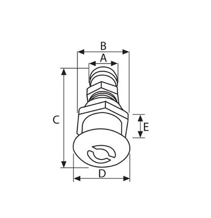 Вентиляційний штуцер в човен Lalizas 37331 прямий, діаметр труби 16мм, фото 2