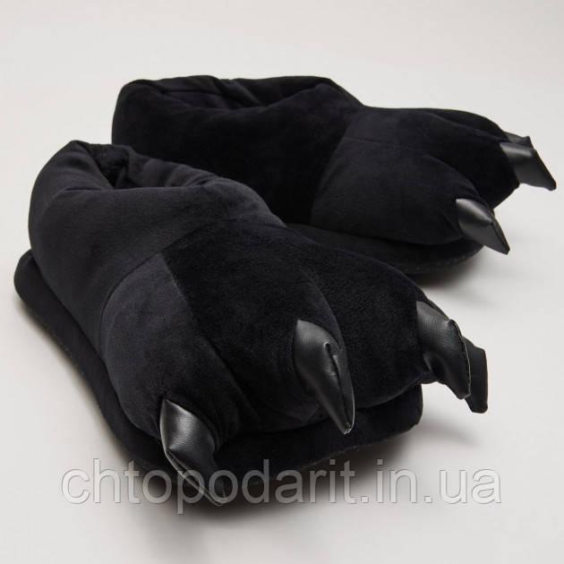 Мягкие тапочки кигуруми черные лапы Код 10-2807